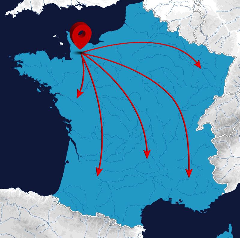 Carte déplacement dans toute la France
